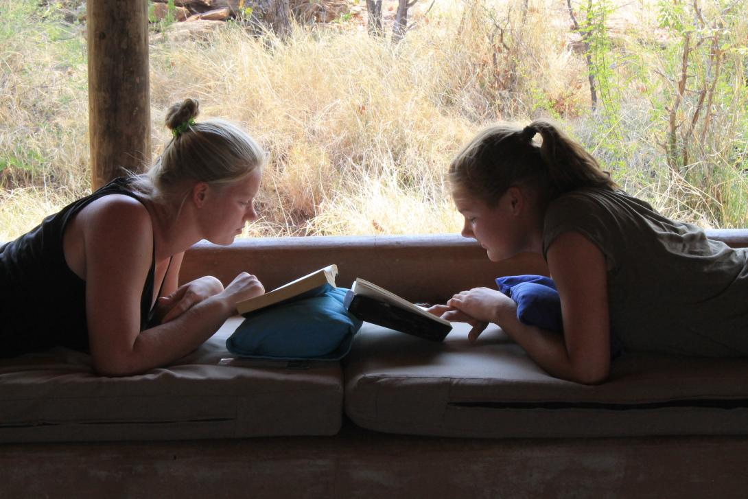 Stuck inside, volunteers staying in Botswana use their leisure time to read